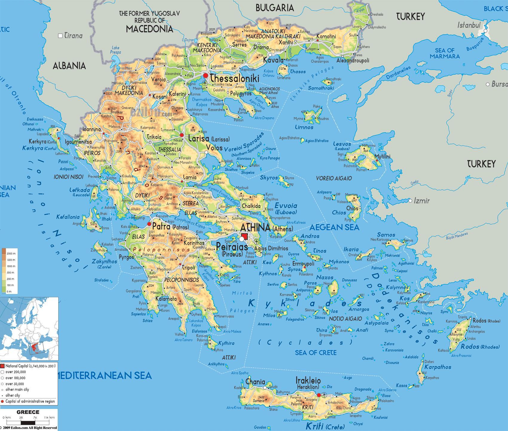 Kreikan Maantiede Map Maantieteellinen Kartta Kreikka Etela