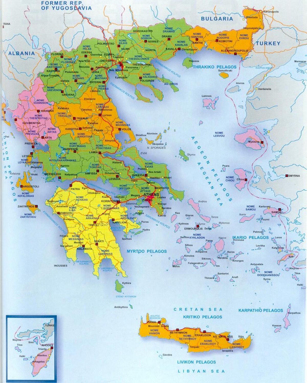 Kreikan Kartta Kreikka Kartalla Etela Euroopassa Eurooppa