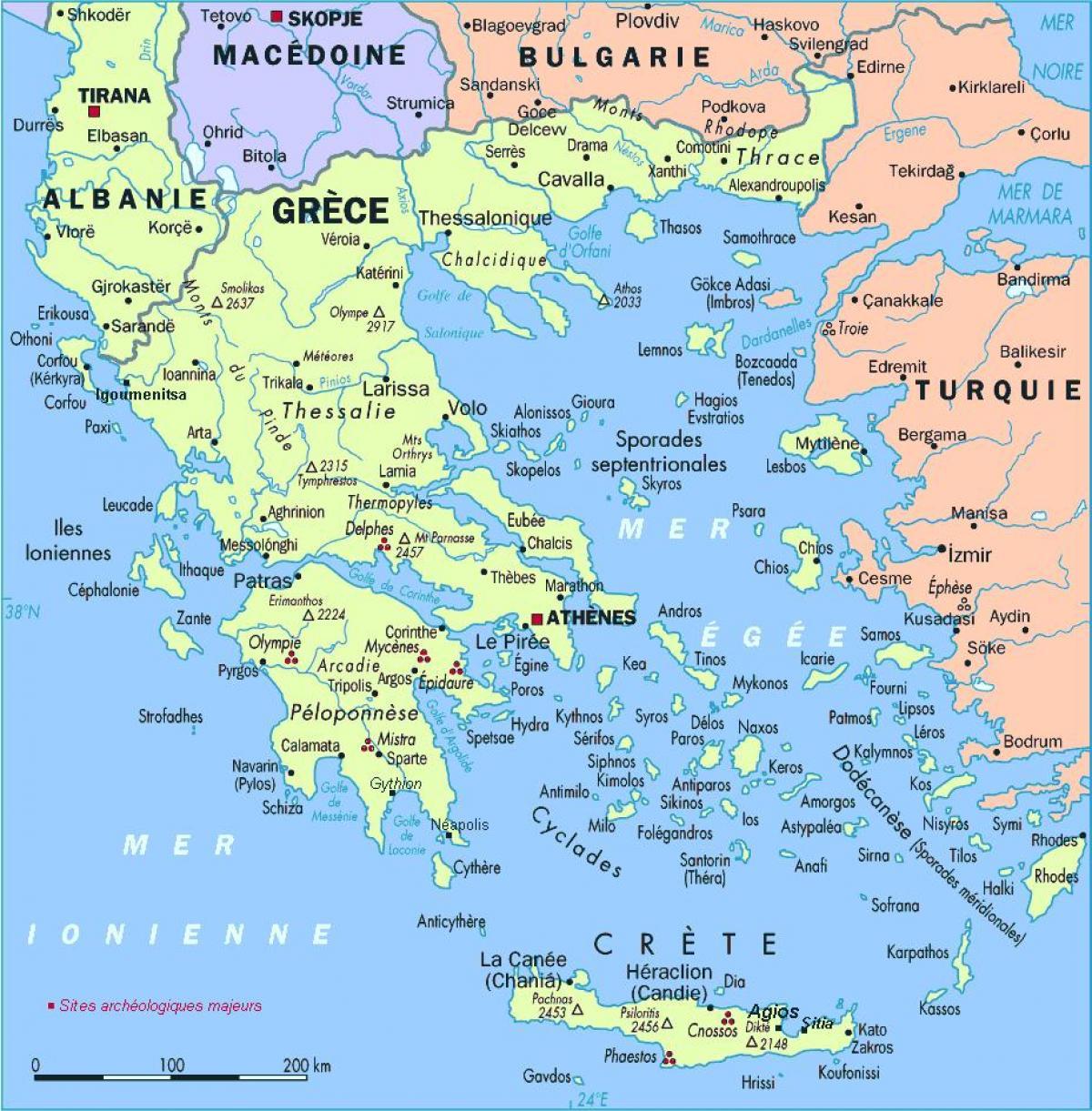 Kreikka Kartta Yksityiskohtainen Kartta Kreikka Etela